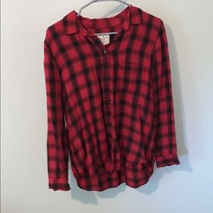 American eagle red and black flannel shirt